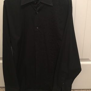 Black shirt with embroidered left panel